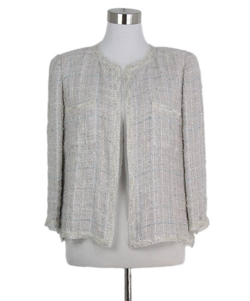 Chanel grey beige aqua tweed jacket 1
