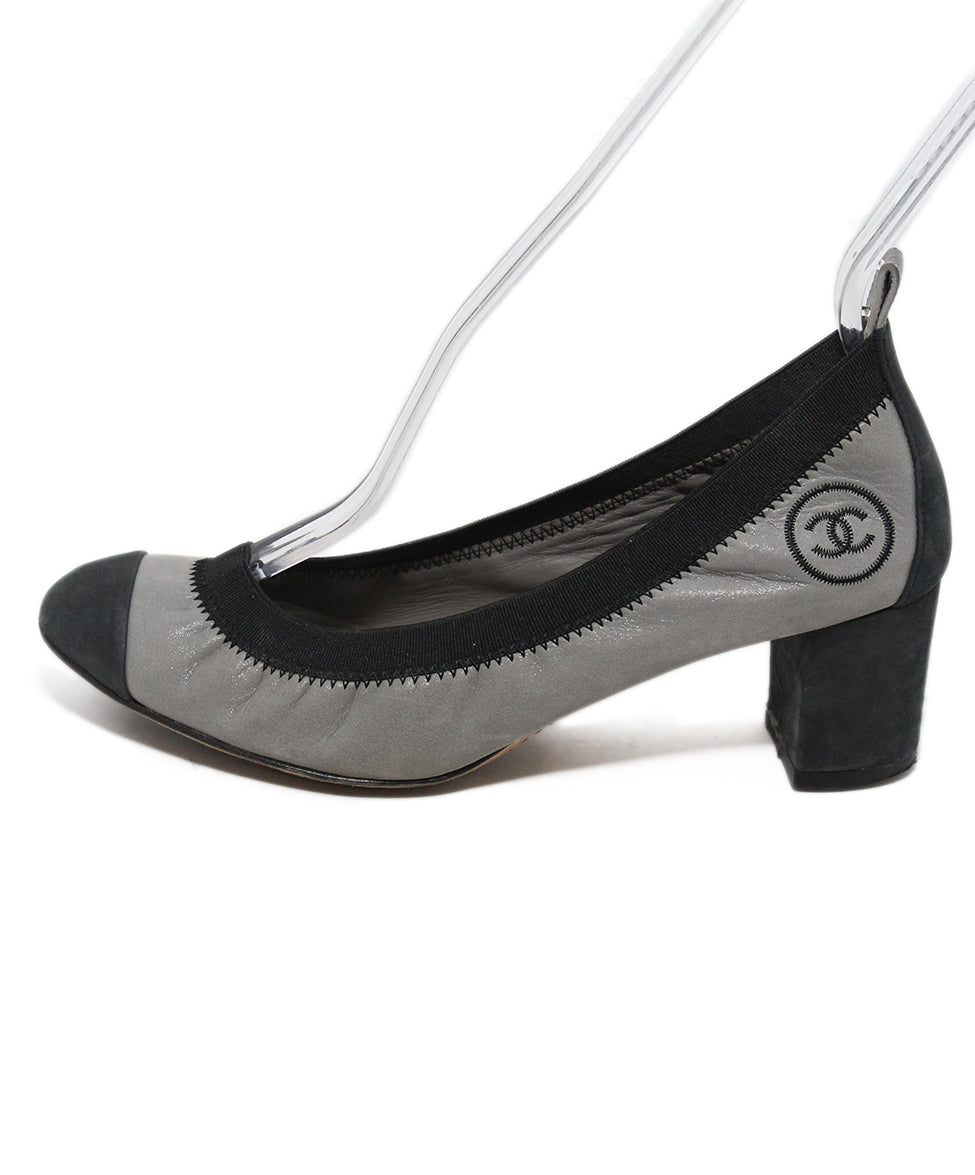6fd9a4ce5c Chanel Heels US 6.5 Grey Black Leather Shoes - Michael's Consignment NYC