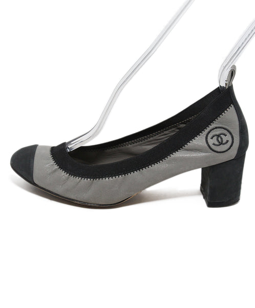 Chanel grey black leather heels 2