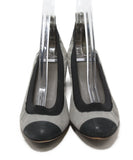 Chanel grey black leather heels 4