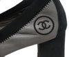 Chanel grey black leather heels 7