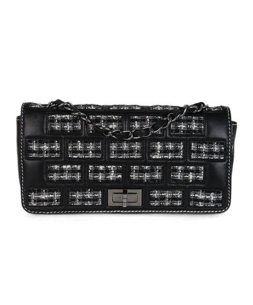 Chanel grey black tweed shoulder bag 1