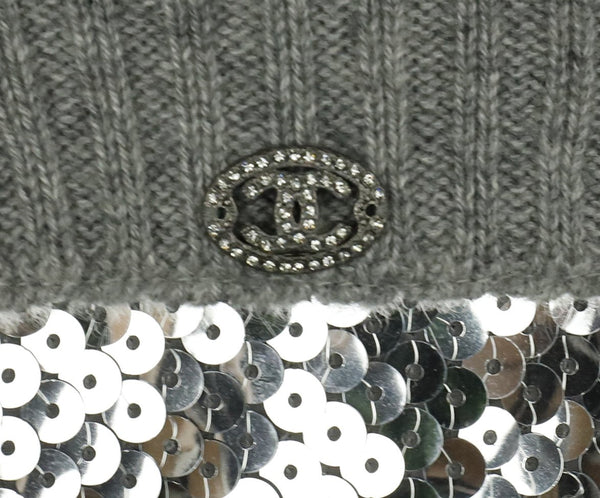 Chanel Size 2 Grey Cashmere Sequins Sweater 5
