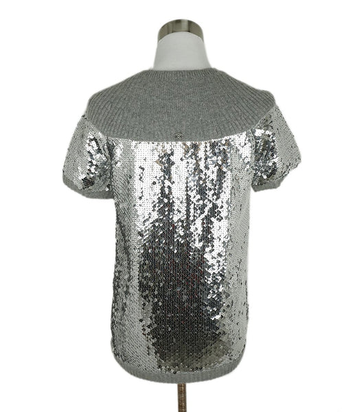 Chanel Size 2 Grey Cashmere Sequins Sweater 3