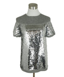Chanel Size 2 Grey Cashmere Sequins Sweater 1