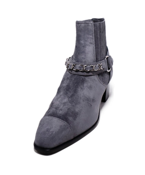 Chanel Grey Suede Chain Trim Booties 1