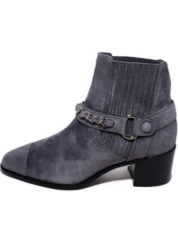 Chanel Grey Suede Chain Trim Booties 2