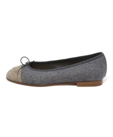 Chanel grey taupe flannel suede flats 1