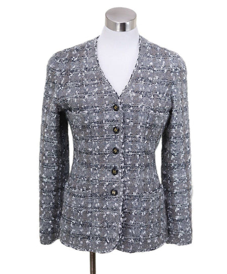 Chanel Black Crystal Metal Trim Jacket Size 6