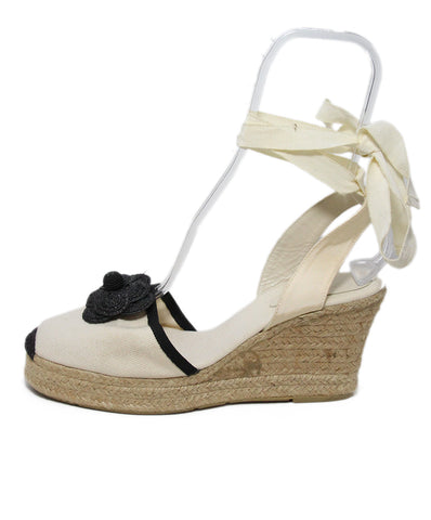 Chanel Ivory Black Canvas Espadrille Wedges 1