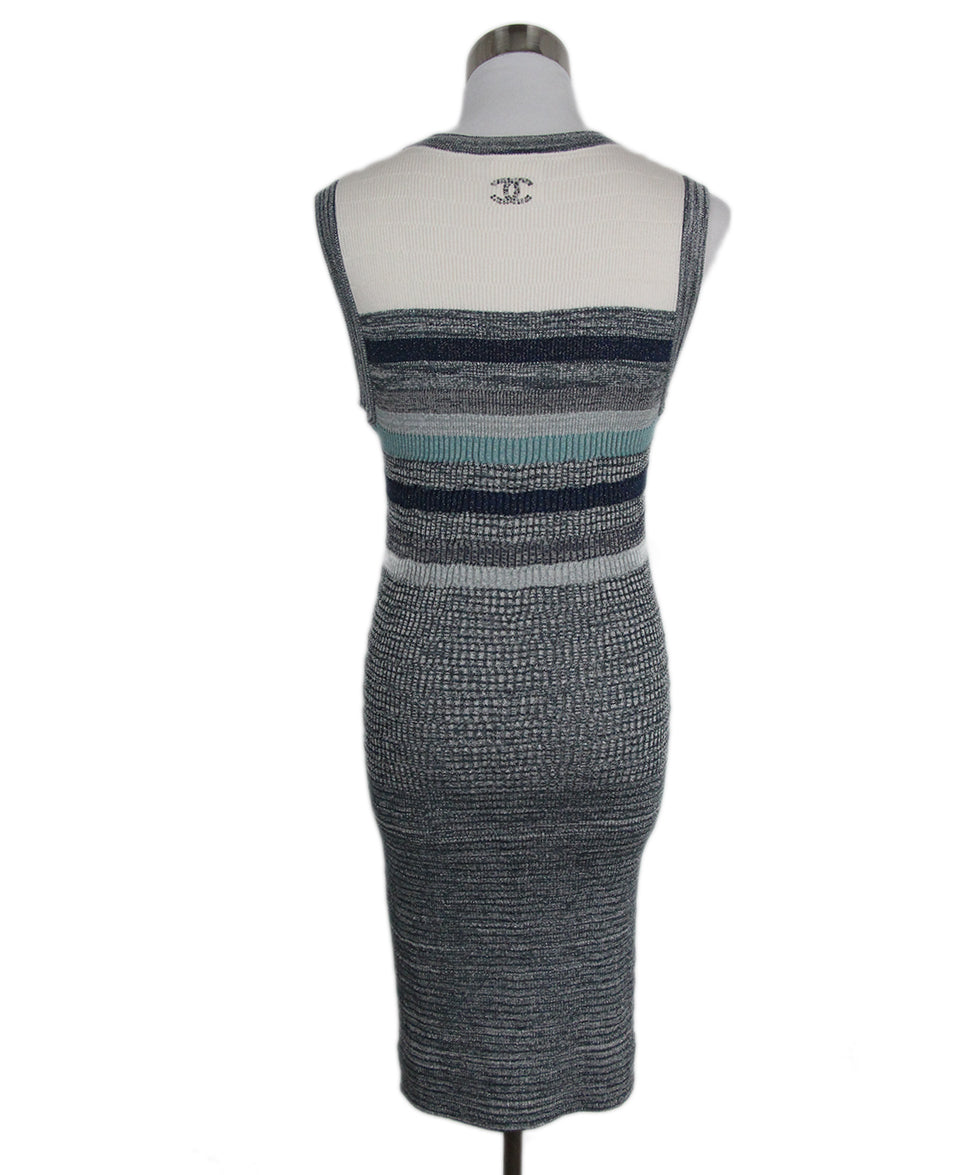 Chanel Ivory Blue Grey Cotton Nylon Dress 3