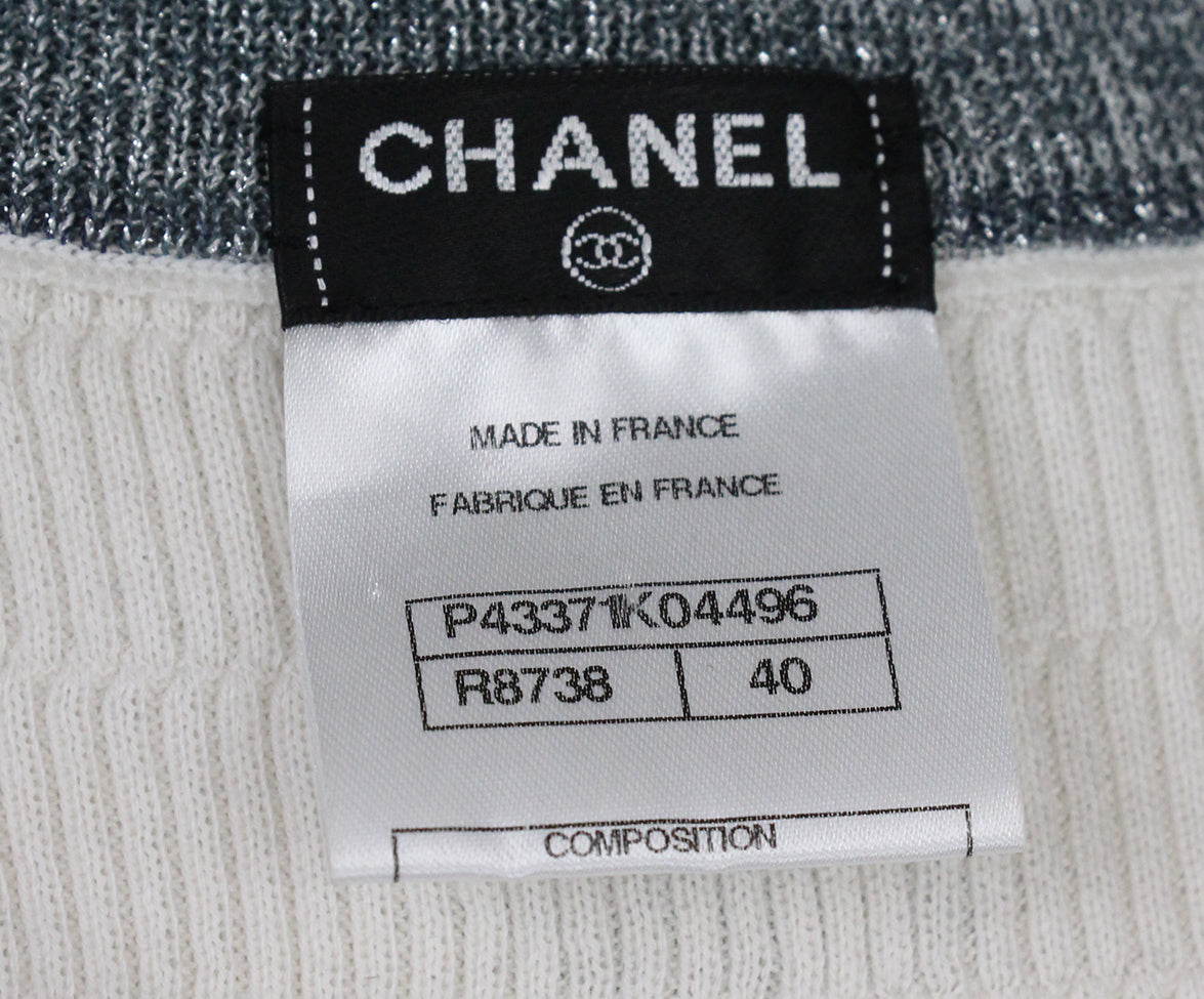 Chanel Ivory Blue Grey Cotton Nylon Dress 4