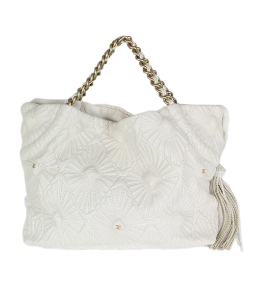Chanel Ivory Leather Quilted Floral Handbag 1