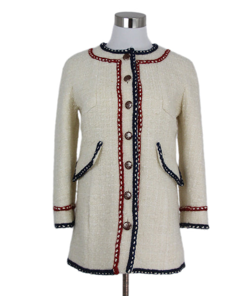 Chanel Ivory Navy Red Wool Jacket 1