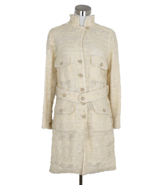 Chanel Neutral Ivory Wool Acrylic Outerwear Coat 1