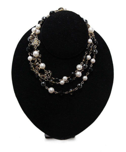 Chanel ivory pearl black multi beaded necklace 1
