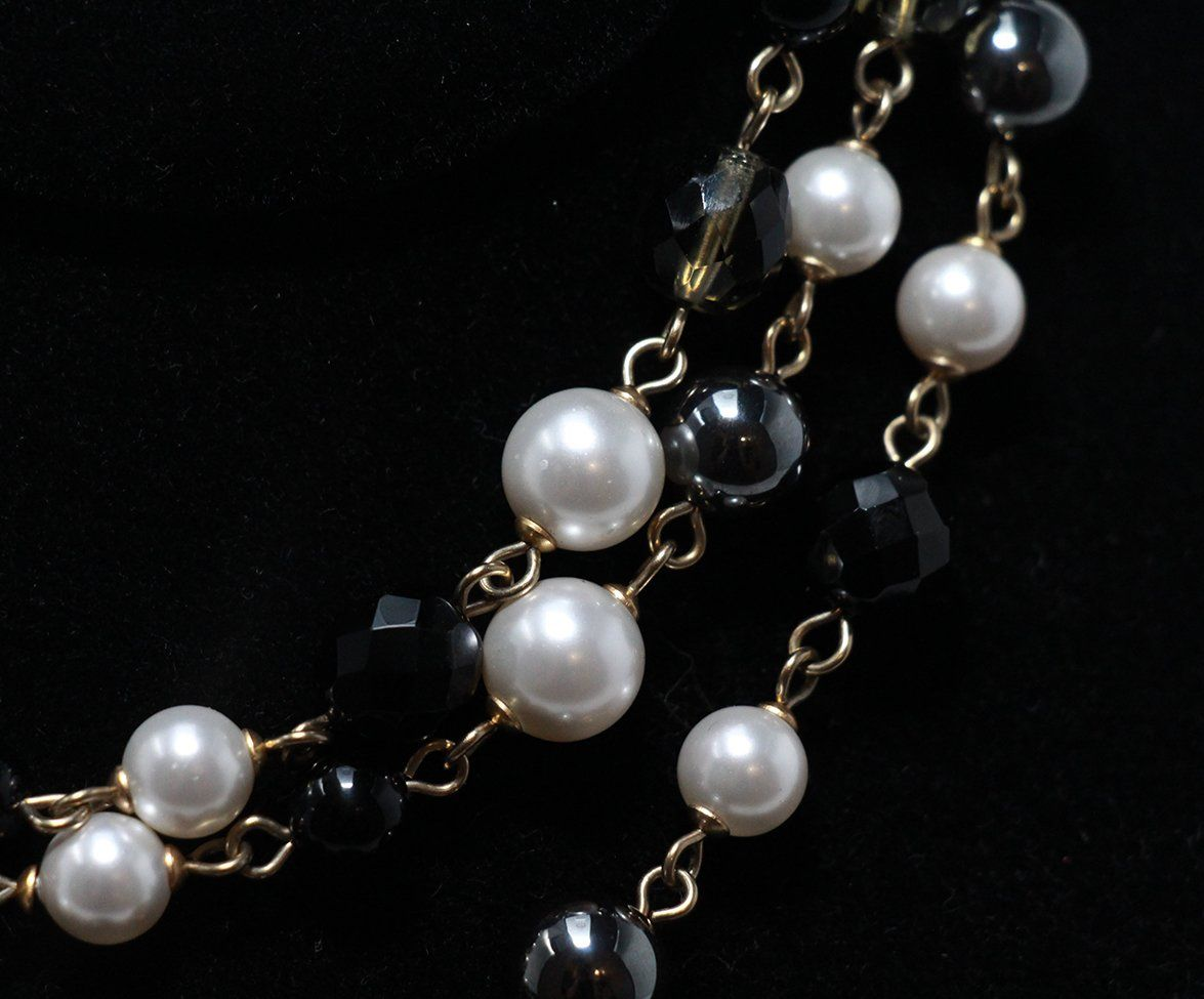 Chanel ivory pearl black multi beaded necklace 2