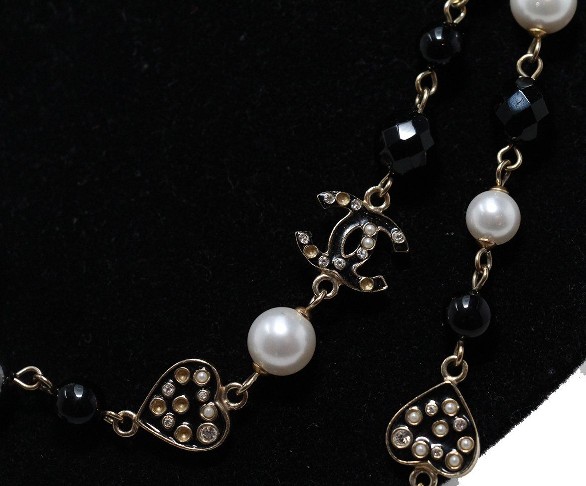Chanel ivory pearl black multi beaded necklace 4