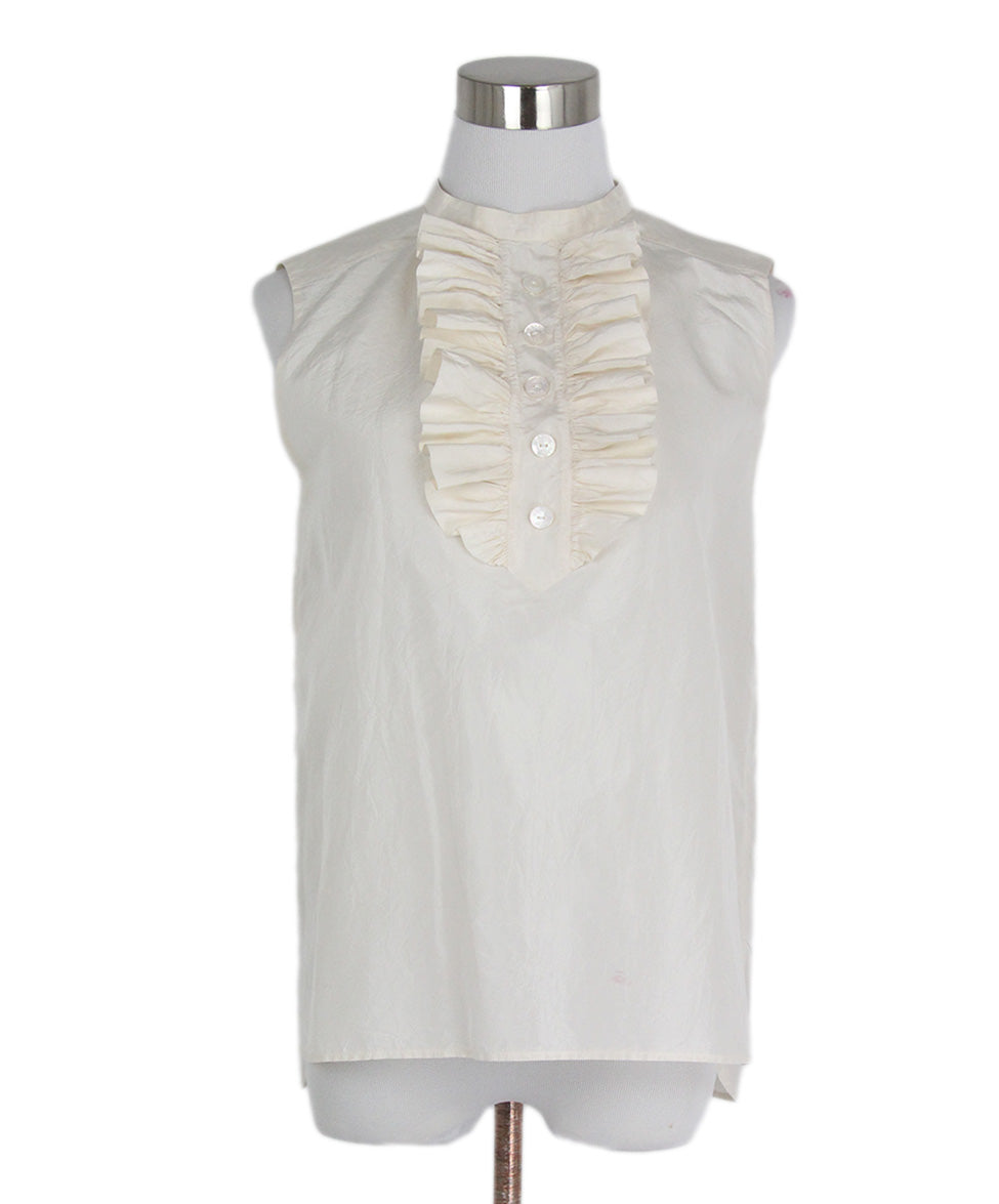 Chanel Ivory Silk Ruffle Trim Sleeveless Top 1