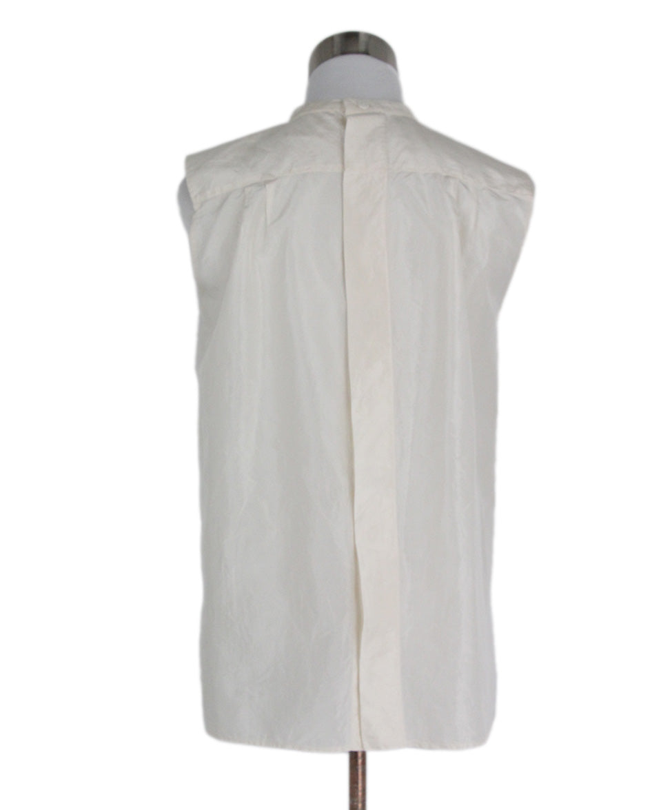 Chanel Ivory Silk Ruffle Trim Sleeveless Top 3