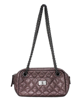 Chanel metallic mauve leather shoulder bag