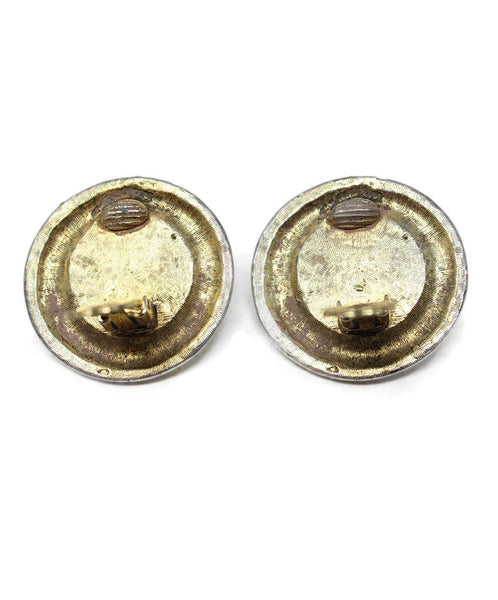 Chanel Gold Faux Pearl Engraved Clip-On Earrings 3
