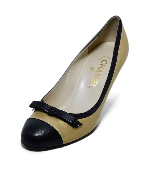 Chanel Metallic Gold Leather Black Bow Trim Heels 1