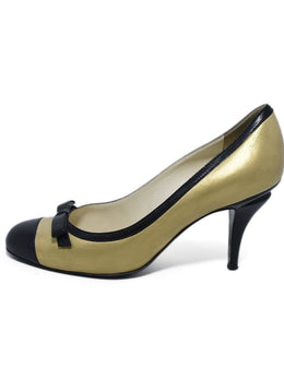 Chanel Metallic Gold Leather Black Bow Trim Heels 2