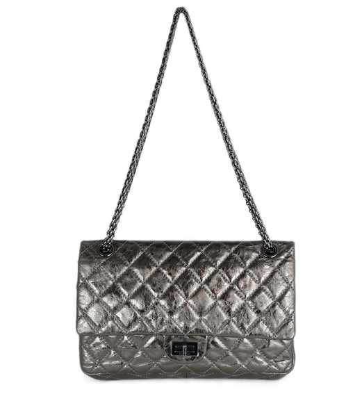 Chanel Metallic Gold Quilted Leather Shoulder Bag Handbag 1