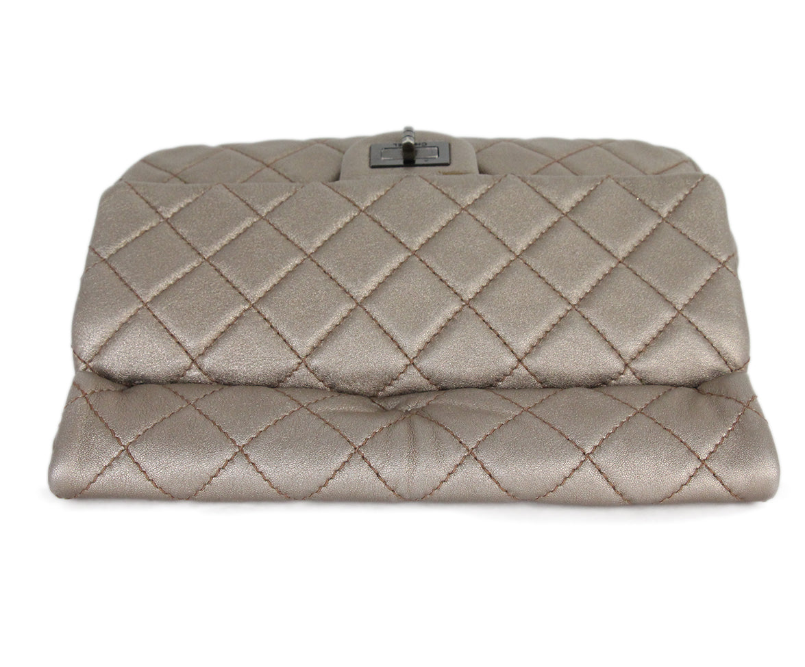 Chanel metallic gold quilted leather clutch 5