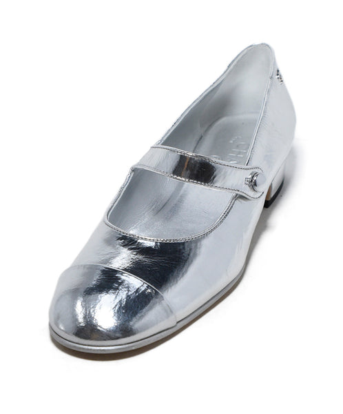 Chanel Metallic Silver Leather Mary Janes Flats 1