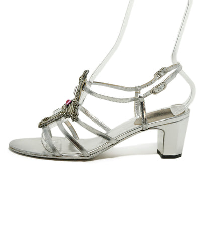 Chanel Metallic Silver Leather Pink Clear Rhinestones Sandals 1