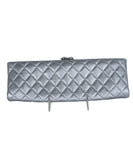 Chanel Metallic Silver Leather Clasp Rhinestone Clutch Handbag 1