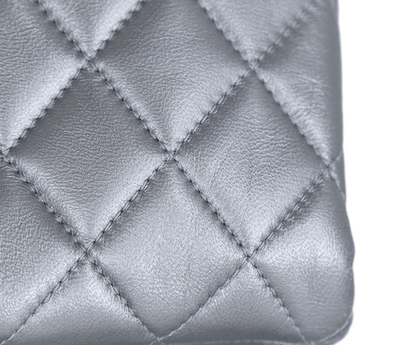 Chanel Metallic Silver Leather Clasp Rhinestone Clutch Handbag 9