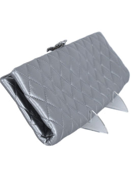 Chanel Metallic Silver Leather Clasp Rhinestone Clutch Handbag 2
