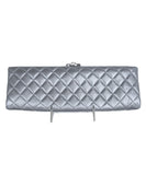Chanel Metallic Silver Leather Clasp Rhinestone Clutch Handbag 3