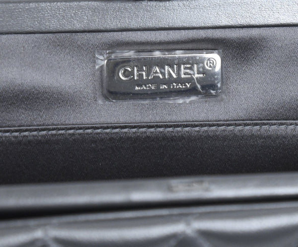 Chanel Metallic Silver Leather Clasp Rhinestone Clutch Handbag 8