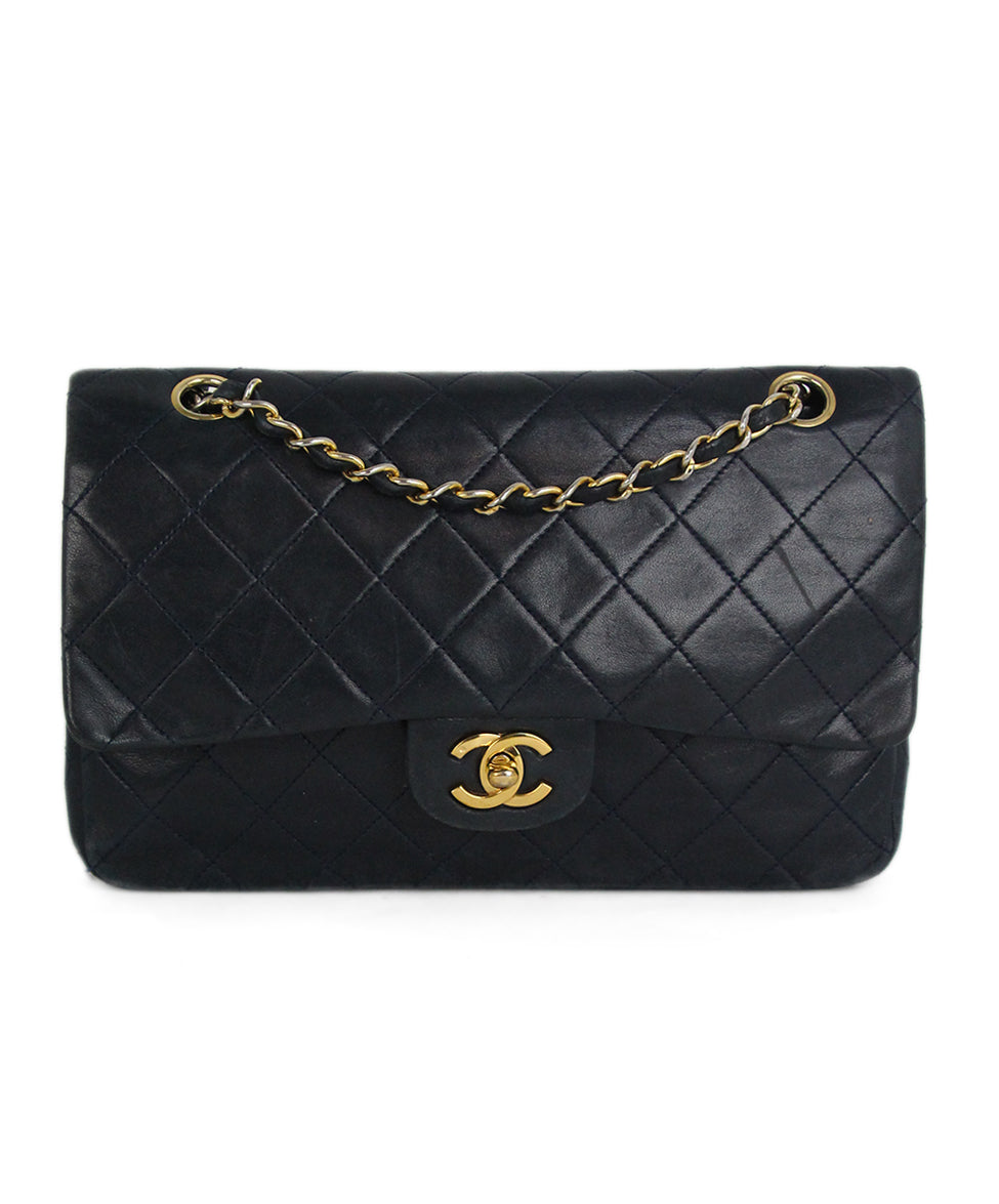 fc7a0d26821a Chanel Vintage Classic Double Flap Navy Leather Handbag - Michael s ...