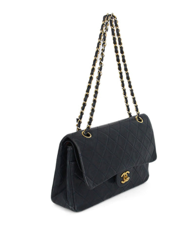 Chanel navy blue leather vintage bag 1