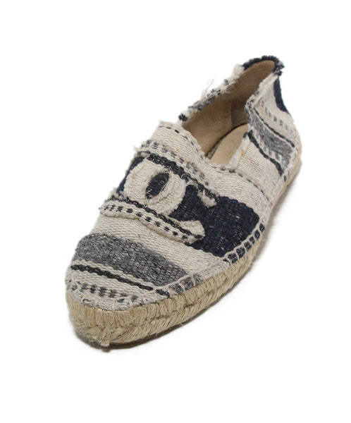 Chanel navy linen tan stripes espadrilles flats 1