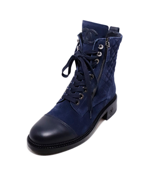 Chanel Navy Suede Lace Up Booties 1