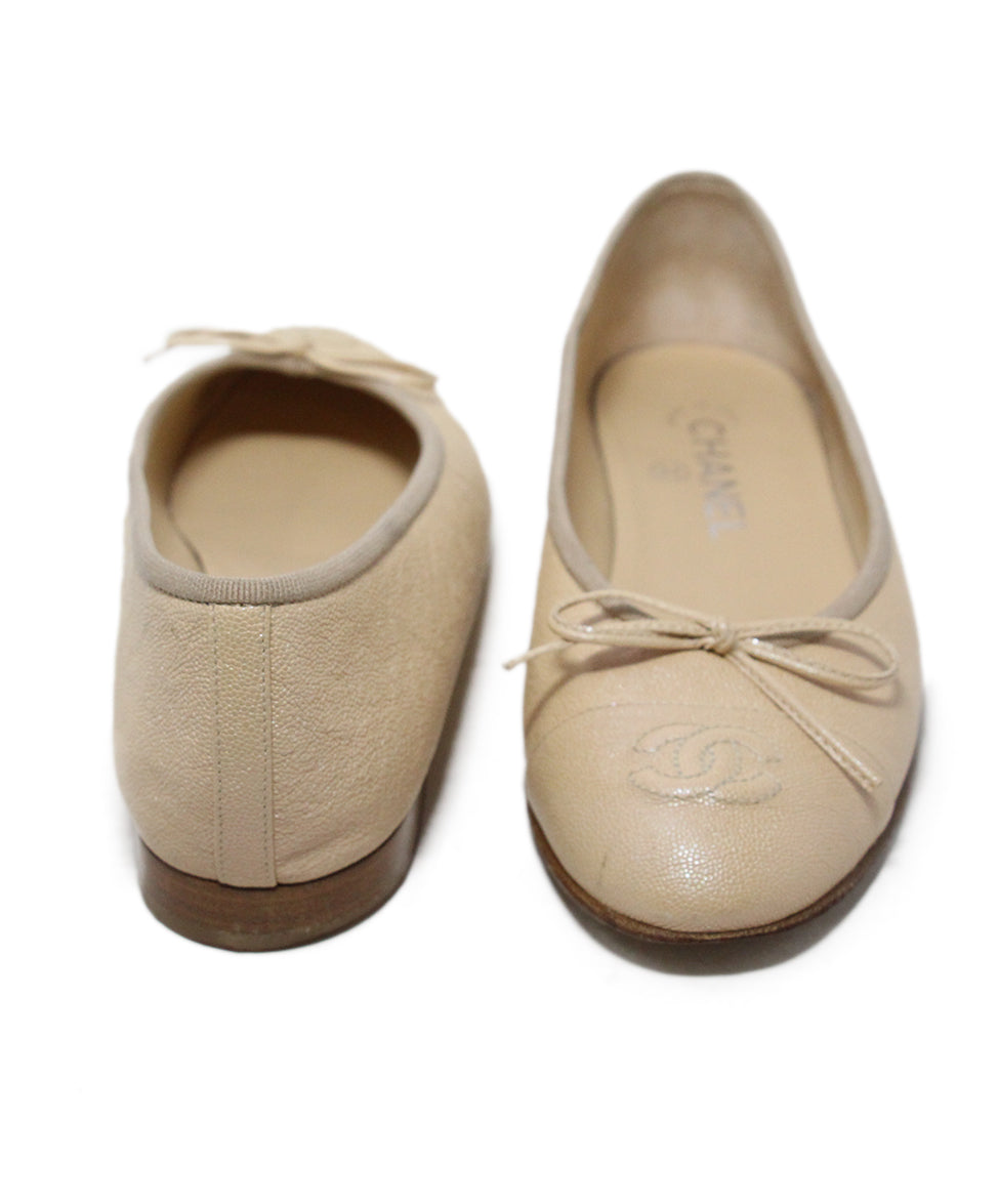 Chanel neutral beige iridescent leather flats 3