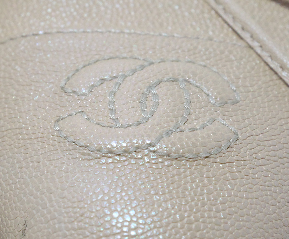 Chanel neutral beige iridescent leather flats 8