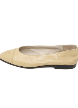 Chanel Beige Leather Flats 2