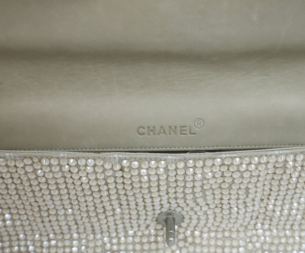 Chanel Neutral Beige Rhinestone Handbag 8