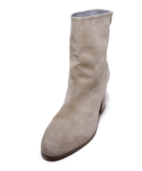 Chanel Neutral Beige Suede Booties 1