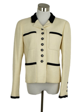 Chanel Neutral Beige Wool Black Trim Nylon Jacket 1