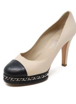 Chanel Neutral Beige Black Leather Chain Trim Heels