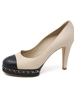 Chanel Neutral Beige Black Leather Chain Trim Heels 1