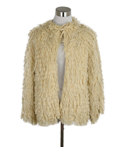 Chanel Neutral Cream Cotton Fringe Jacket 1
